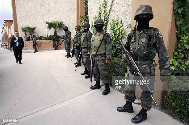 Soldiers of Mexican Army patrol the streets of Ciudad Juarez Mexico during a visit of the first Lady Margarita Zavala de Calderon on March 11 2009...