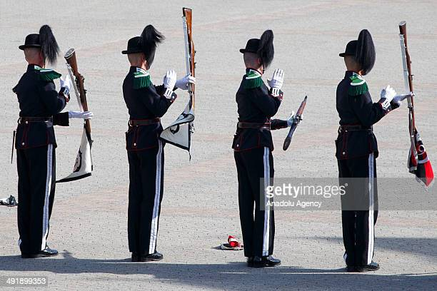 Soldiers of Norwegian Army and the army band demonstrate their skills to celebrate Norwegian Constitution Day on May 17 2014 in Oslo Norway Norway's...