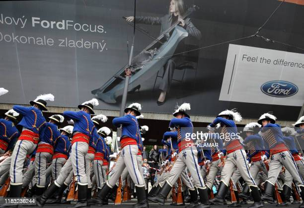 Soldiers of Presidential guard of honour march during the Slovak military parade marking its 15th anniversary in Bratislava on September 21 2008 AFP...