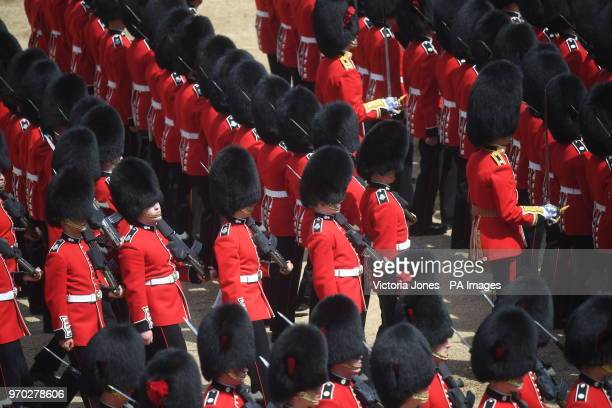 Soldiers of the 1st Battalion Coldstream Guards during the Trooping the Colour ceremony at Horse Guards Parade, central London, as the Queen...