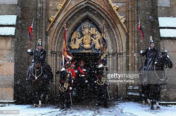 Soldiers of The 1st Battalion Duke of Lancaster's Regiment leave Blackburn Cathedral to march through the streets of following a sixmonth tour of...