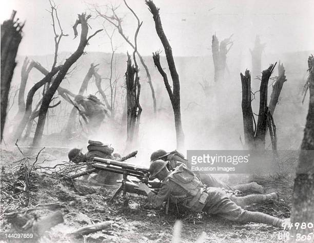 US soldiers of the 23rd Infantry 2nd Division firing a 37mm machine gun at a German position in the Argonne Forest during the MeuseArgonne offensive...