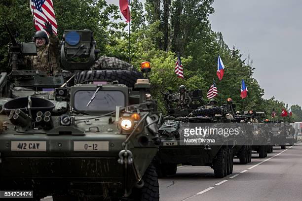 S soldiers of the 2nd Cavalry Regiment of the US Army arrive to Czech army barracks on May 27 2016 in Prague Czech Republic About 420 US soldiers...