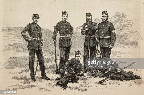 Soldiers of the 2nd Lanarkshire Scottish volunteers engraving from The Illustrated London News No 2206 August 27 1881