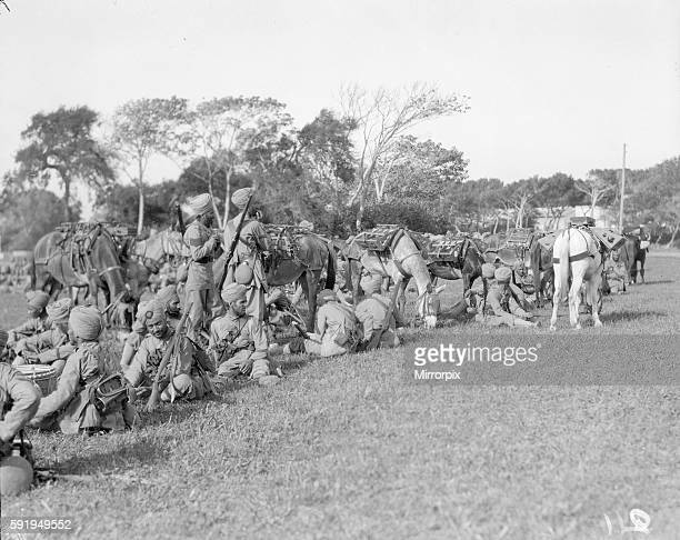 Soldiers of the 3rd Indian Division seen here resting at their camp on the race course at Marseilles France September 30th 1914