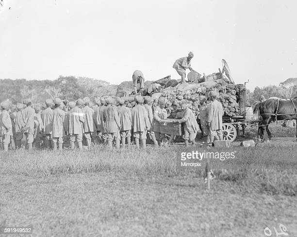 Soldiers of the 3rd Indian Division seen here unloading transport wagons at their rest camp on the race course at Marseilles France September 30th...