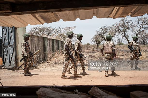 Soldiers of the 7th Division of the Nigerian Army seen at the Government Girls Secondary School Chibok in Borno State northeastern Nigeria on March...