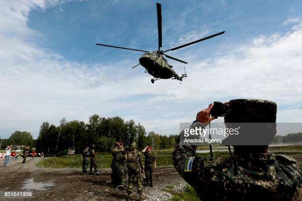 Soldiers of the armed participants attend the International Army Games at the training complex of the Novosibirsk Higher Military Command School in...