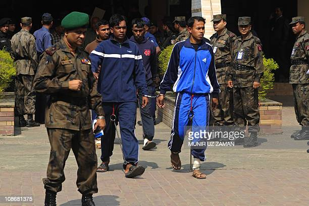 Soldiers of the Bangladesh Rifles leave the special court at BDR headquarters in Dhaka on February 1 2011 A Bangladeshi special court jailed 111...