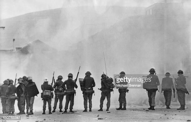 Soldiers of the British Army in riot gear during civil unrest in Northern Ireland circa 1969