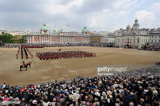 Soldiers of the British Army marching during Trooping the Colour on Horse Guards Parade in London United Kingdom The ceremonial event which marks...