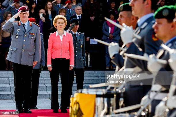 Soldiers of the Bundeswehr march past German Defense Minister Ursula von der Leyen and new Bundeswehr Chief of Staff Eberhard Zorn during a ceremony...
