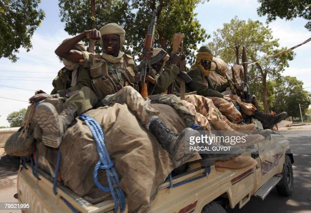 Soldiers of the Chadian army are on patrol downtown N'Djamena on February 5 2008 where heavy fights took place in the last days Rebels in Chad...
