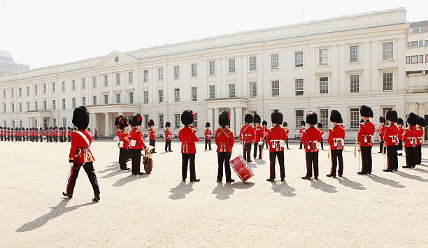 Soldiers From The Foot Guards Of The Household Division Prepare Ahead Of The Royal Wedding