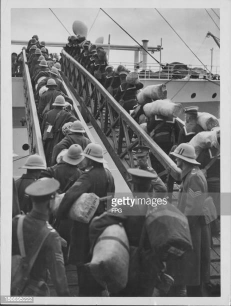 Soldiers of the East Surrey Regiment boarding a ship bound for Shanghai during World War Two Great Britain circa 19391945
