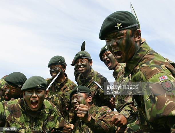 Soldiers of the First Battalion of the Royal Gurkha Rifles on July 19 2007 at the Sir John Moore barracks in Folkstone England The First Battalion...