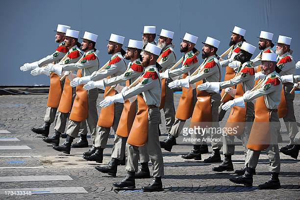 Soldiers of the Foreign Legion parade during the Bastille Day parade on the Champs Elysees on July 14 2013 in Paris France The annual military...