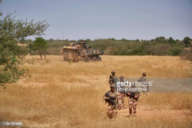 TOPSHOT Soldiers of the French Army monitors a rural area during the Barkhane operation in northern Burkina Faso on November 12 2019