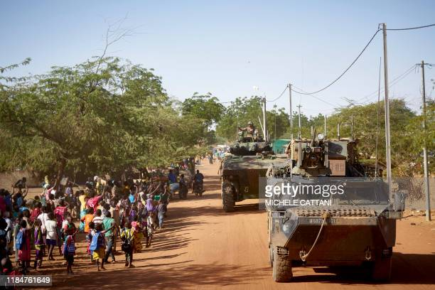 Soldiers of the French Army patrols the village Gorom Gorom in Armoured Personnel Carriers during the Barkhane operation in northern Burkina Faso on...
