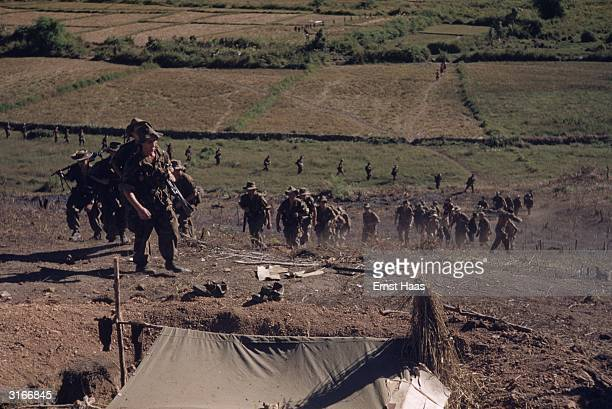 Soldiers of the French Foreign Legion at Dien Bien Phu in north-west Vietnam, the site of a major battle between the French and the Vietminh in 1954....