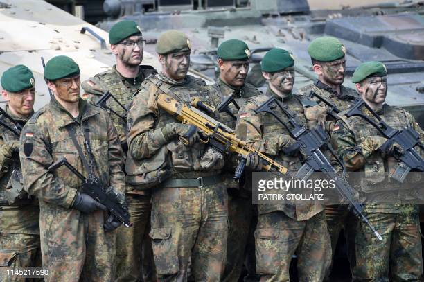Soldiers of the German armed forces Bundeswehr take part in an educational practice of the Very High Readiness Joint Task Force as part of the NATO...
