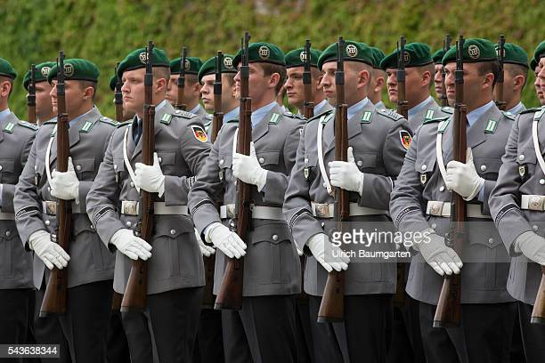Soldiers of the Guard Of Honour of the Bundeswehr in front of the Federal Chacellery
