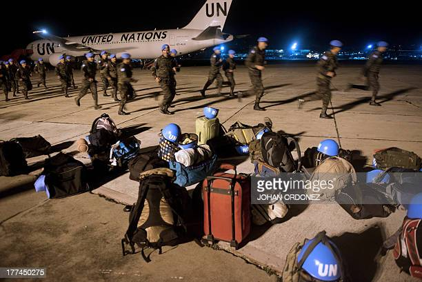 """Soldiers of the Guatemalan """"Kaibil"""" Special Forces are seen before boarding a plane to Democratic Republic of Congo, at the Air Force base in..."""