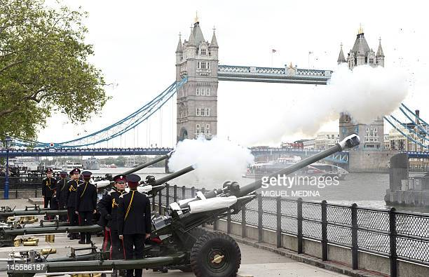 Soldiers of the Honorable Artillery Company fire blank rounds during a 62 gun salute at the Tower of London on June 2 to mark the start of diamond...