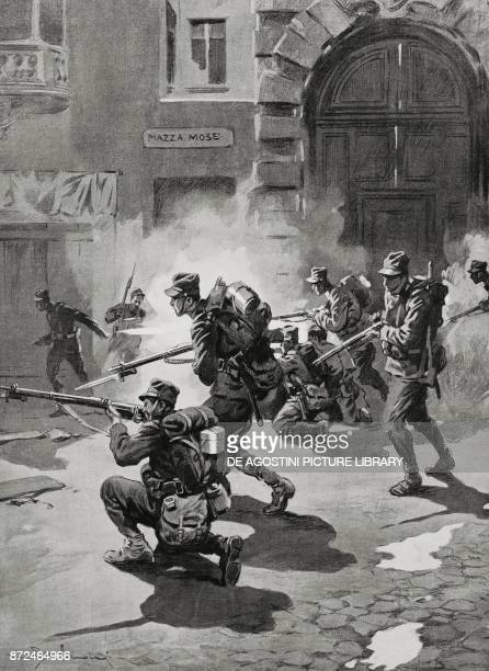 Soldiers of the Italian Infantry occuping Ala Mose square May 27 Italy World War I drawing by Aldo Molinari from L'Illustrazione Italiana Year XLII...