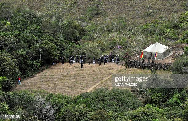 Soldiers of the Joint Task Force take part in an eradication campaign to destroy coca plantations in the Madidi National Park in northeastern Bolivia...