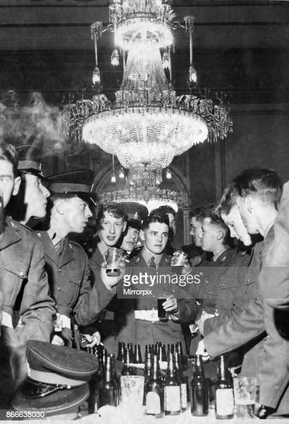 Soldiers of the King's Regiment enjoying a beer or two after march in Liverpool 18th May 1962