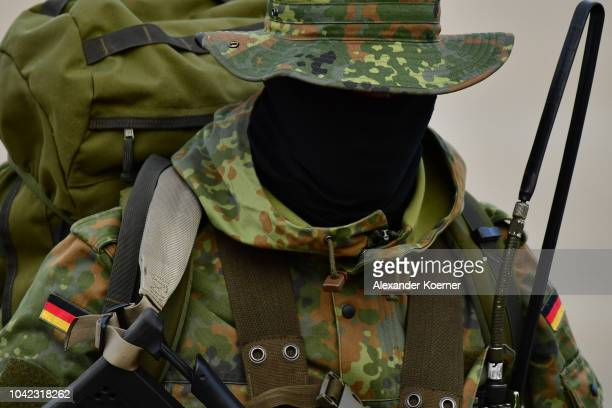 Soldiers of the longrange recon troop of the Bundeswehr the German armed forces is seen during a presentation at a threeday Bundeswehr exercise on...