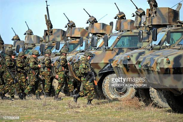 Soldiers of the Macedonian army prepare for military exercises during the Balkan Flash 2010 at Krivolak army training center 120 km northeast of...