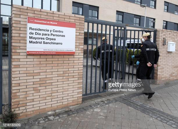 Soldiers of the Military Emergency Unit are seen entering to disinfect the nursing and day centre ORPEA Sanchinarro for the second time to stop...