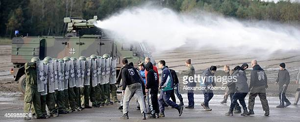 Soldiers of the Military Police of the German Armed Forces show their skills prior the arrival of German Defense Minister Ursula von der Leyen in...