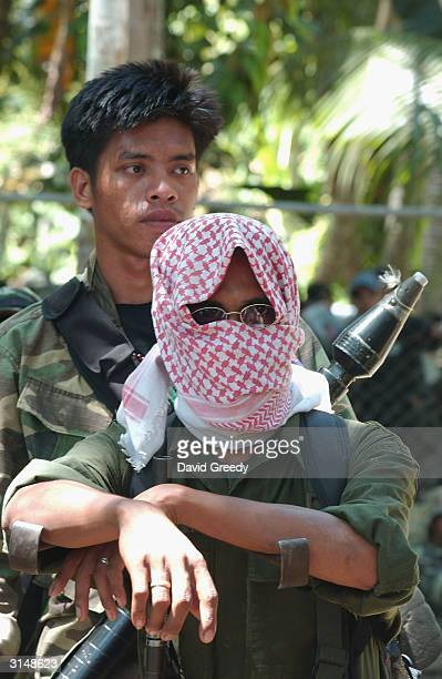 Soldiers of the Moro Islamic Liberation Front at the Islamic Center in Buliok on March 28 2004 on the southern island of Mindanao Philippines More...