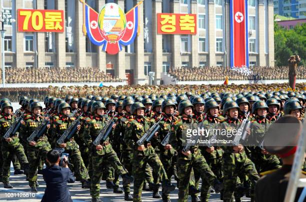 Soldiers of the North Korean PeopleÕs Army march on during the military parade as a part of the 70th anniversary of its founding on September 9 2018...