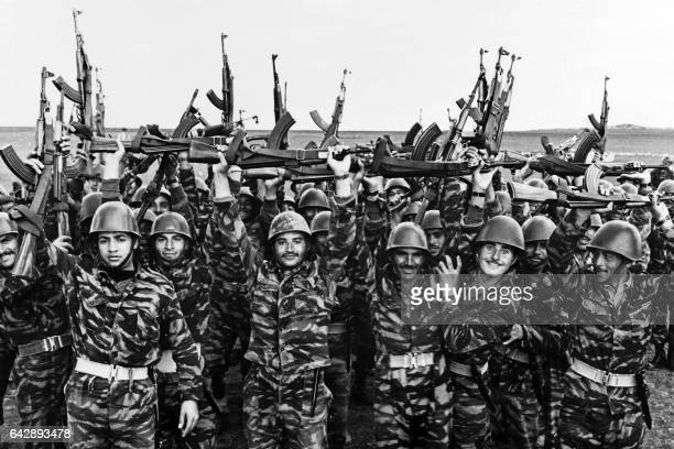 Soldiers of the Palestine Liberation Organization jubilate after a military training in May 1967 before the sixday war On 05 June 1967 Israel...