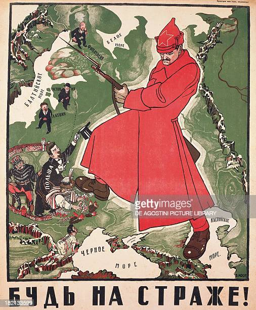 Soldiers of the Red Army hunting profiteers and foreign invaders poster by Dmitrij Moor Russia 20th century Paris Musée D'Histoire Contemporaine...