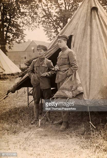 Soldiers of the Royal Air Force ground crew relaxing with a cigarette during the Rhine Army occupation in Germany circa 1919