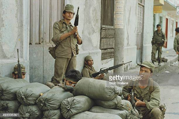 Soldiers of the Salvadoran Army during an offensive by the FMLN in El Salvador during the Salvadoran Civil War November 1989