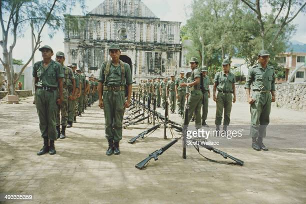 Soldiers of the Salvadoran Army in formation in El Salvador during the Salvadoran Civil War 1983