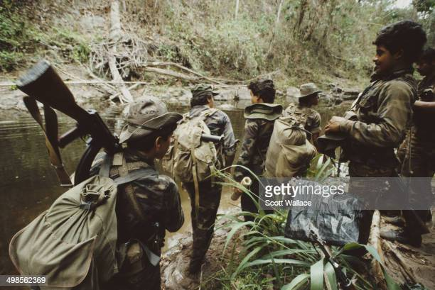 Soldiers of the Sandinista Popular Army during an operation in the Bosawás Biosphere Reserve in Nicaragua 1987