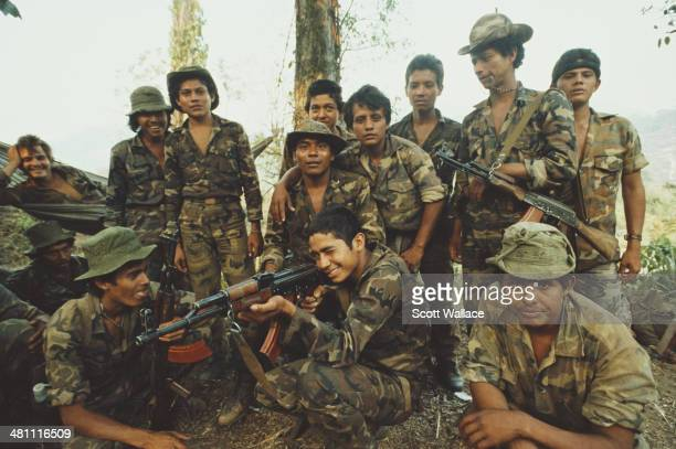 Soldiers of the Sandinista Popular Army Nicaragua 1987 They are undergoing training in heliborne operations