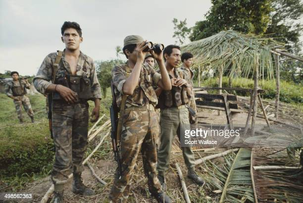 Soldiers of the Sandinista Popular Army on the Rio Coco in Nicaragua 1986