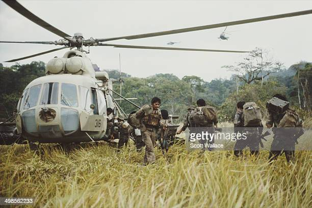 Soldiers of the Sandinista Popular Army with a Mil Mi17 Russian helicopter in Nicaragua 1987