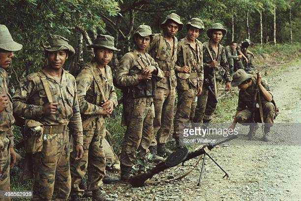 Soldiers of the Sandinista Popular Army with a Soviet machine gun in Nicaragua 1987