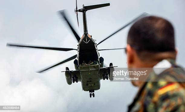 Soldiers of the Special Forces Command KSK flying with a Sikorsky CH53 Sea Stallion heavylift transport helicopter of the German Federal Armed Forces...
