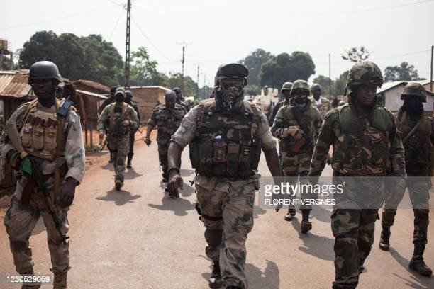 Soldiers of the Territorial Intervention Brigade 6 of the Central African Armed Forces patrol 1km from the front line, in Boali, on January 10, 2021.