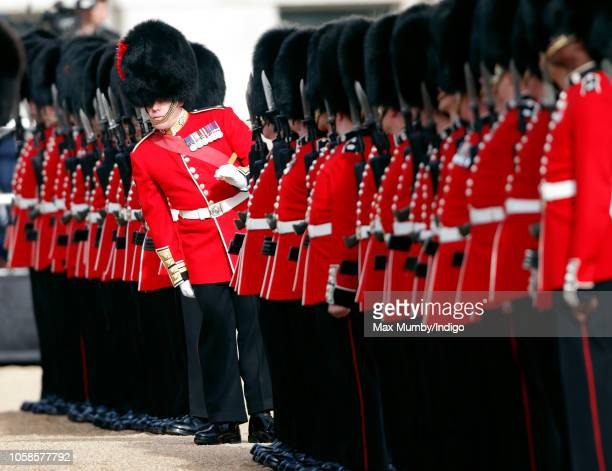Soldiers of the The Coldstream Guards form a Guard of Honour during the ceremonial welcome at Horse Guards Parade for King Willem-Alexander of the...